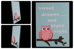 3D Nursery Art - Owl on a Branch with Leaves - sweet dreams... and night night