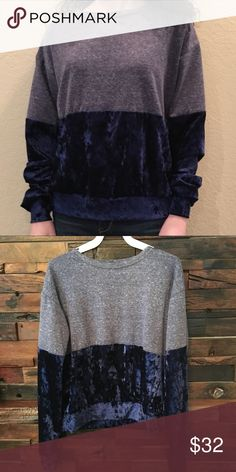 Sweatshirt Navy color block velvet sweatshirt!  Velvet in bottom of the sleeves and shirt front and back! So cute and comfy! Lightweight! 15% rayon, 60% polyester, 5% spandex, 10% cotton A. OK coevolution Tops Sweatshirts & Hoodies