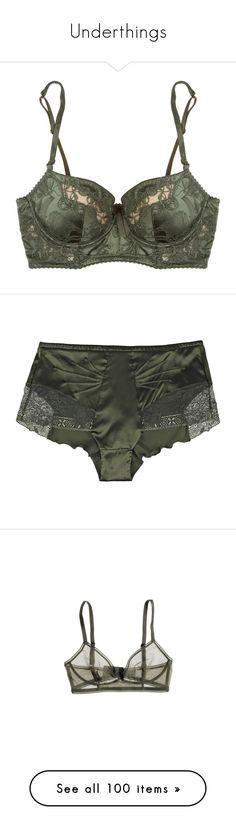 Underthings by moribundslut on Polyvore featuring women's fashion, intimates, bras, lingerie, underwear, forest green, floral bra, shelf bra, balcony bra and bow bra