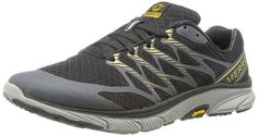 Men's Bare Access Ultra Black/Gold by Merrell!  Available in 1 color. Built for barefoot runners wanting cushioning to buffer impacts on road and long distances, this running shoe offers full foot contact and a natural stride plus responsive uniform toe to heel cushioning for softer landings.