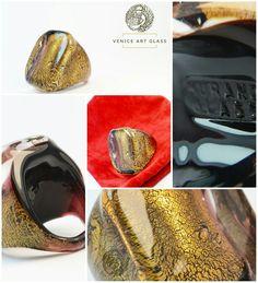 Genuine Murano Glass Ring - Gold Foil 24kt - Handmade Gift From Venice