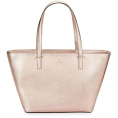 Kate Spade New York Textured Leather Tote Handbag ($228) ❤ liked on Polyvore featuring bags, handbags, tote bags, rose gold, pink tote purse, kate spade tote, tote bag purse, kate spade handbag and handbags tote bags