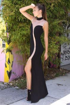 Front Slit Sequin Maxi Dress
