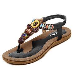 3ee46dfca514 Shop for Zicac Womens New Rhinestone Elastic T-strap Bohemia Style Roman  Bead Folk Style Round Peep Toe Summer Beach Dunlop Toe Post Sandals Flip  Flops Flat ...