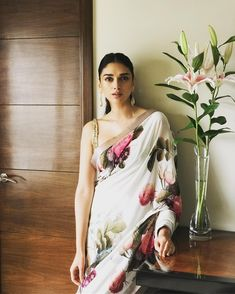 Sabyasachi floral seen wearing sari in Indian Attire, Indian Ethnic Wear, Indian Style, Indian Girls, Fashion Mode, Asian Fashion, Indian Fashion Trends, Ethnic Fashion, Indian Dresses