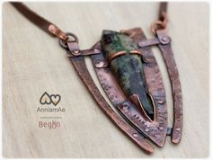 hand forged copper necklace with Parrot wing by AnniamAeDesigns, $88.00