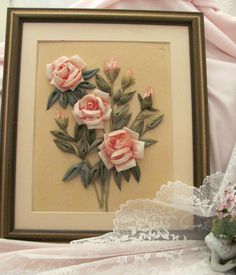 """Pink Roses Ribbon Work Frame measures 13 x 11 """" Signed A H. I really do not know how old these are Found at Estate sale and just had to have them ! Diy Ribbon, Ribbon Work, Pink Rose Flower, Pink Roses, Wall Decor Crafts, Work Pictures, Paper Quilling, Quilling Ideas, Rose Cottage"""