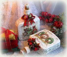 Новогодний декор бутылок. Christmas, Winter Altered Bottles