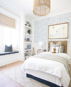 Coastal kids room with a fun pattern on the wall