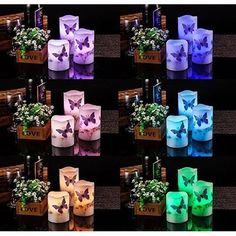 LED Flameless Candles Unscented Home Decor Color Changing Waxes Set Of 3 Led Candle Lights, Flameless Candles, Tea Lights, Colorful Decor, Wax, Table Decorations, Home Decor, Decoration Home, Room Decor