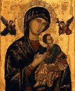 The icon of Our Lady of Perpetual Help belongs to the tradition of icons of the Passion dating from 14th century Serbia. The two angels hold the instruments of the Passion and the Infant Christ turns his head to look at them with astonishment. In fear he seeks refuge with his mother whose eyes speak of the sufferings to come.  The original icon which we now call 'Our Lady of Perpetual Help' is in the Redemptorist Church of St. Alphonsus in Rome. It comes from Crete over 500 years ago.