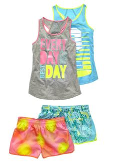Get a head start in colorful, woven running shorts.
