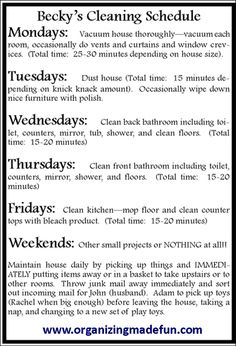 15 minutes a day to a clean house! / seems too good to be true, but Im giving it a shot / #cleaning #schedule : Repin if you like :)