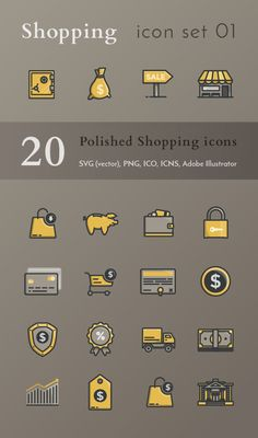 Shopping icon set 01 – kareldries.be Looking for some unique sales and shopping icons? Check out this set of 20 pixel perfect filled outline icons. They're great for web design, infographics and social media.