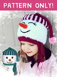 This sweet snowman hat crochet pattern is very versatile. You can make a boy or a girl, closed eyes or open and fuzzy hat base or non fuzzy. Get yours at www.briabby.com/patterns