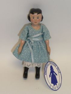 """Judy Brown - 4"""" high Hitty, little girl, hand carved"""