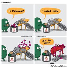 The Awkward Yeti cartoon comics. Yes! Gallbladder returns! Just what I need for a Monday. Happy 2015!