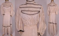 Early 1900s Summer Dress with Floral Print.