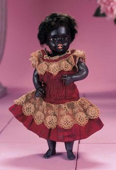 Dimples & Sawdust: 275 Very Rare German Black Bisque Doll by Kestner with Bare Feet
