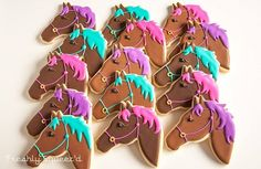 horse cookies by Freshly Squeez'd, inspired by Not Betty Cookies No Bake Sugar Cookies, Iced Cookies, Cute Cookies, Royal Icing Cookies, Cupcake Cookies, Cupcakes, Horse Birthday Parties, Birthday Cake Girls, 4th Birthday