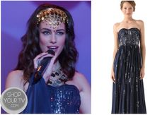 Shop Your Tv: 90210: Season 5 Episode 12 Adrianna's Blue Sequinned Maxi Dress
