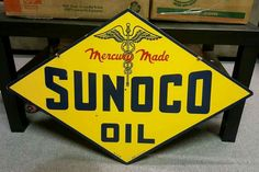Original Sunoco Mercury Made Motor Oil Porcelain Sign