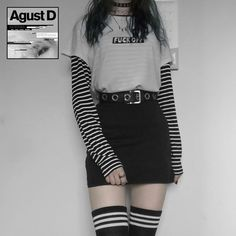 Grunge Outfits, Edgy Outfits, Retro Outfits, Cute Casual Outfits, Egirl Fashion, Kpop Fashion Outfits, Kawaii Fashion, Grunge Fashion, Aesthetic Grunge Outfit