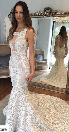 white lace long wedding dress, 2017 wedding dress, mermaid long wedding dress