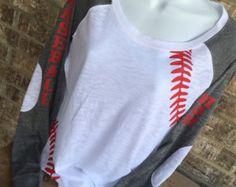 V Neck Baseball Laces T-Shirt baseball mom shirt by MamaGlitter