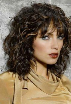 Medium curly with bangs