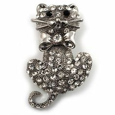 Diamante Cat With Bow Brooch (Silver Tone) Avalaya. $21.60. Gemstone: diamante. Occasion: anniversary, mothers day, casual wear. Metal Finish: rhodium plated. Type: crystal. Theme: animal, cat