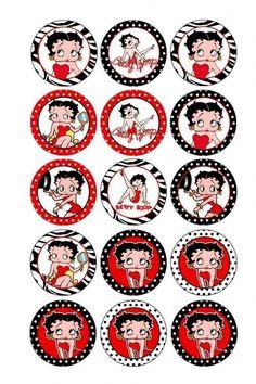 Bottle Cap Jewelry, Bottle Cap Art, Bottle Cap Images, Festa Pin Up, Éphémères Vintage, Creation Bougie, Imagenes Betty Boop, Bottle Top Crafts, Betty Boop Cartoon