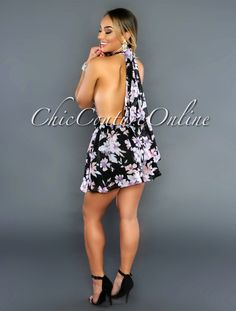 Chic Couture Online - Malaysia Black Floral Print Halter Romper,//www.chiccoutureonline.com/malaysia-black-floral-print-halter-romper/)
