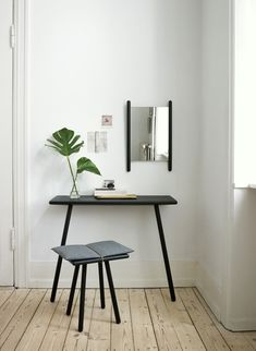Minimal interior design idea. Small table and tiny chair can be put in entryway