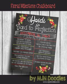 Red Floral Adult Birthday Chalkboard