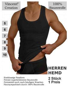 Herren Unterhemden im 2er Pack Schwarz
