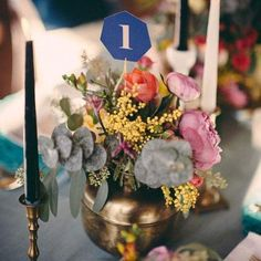 Simple geometric table numbers for wedding reception decor
