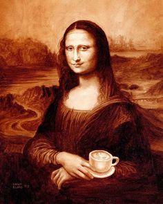 Mona Lisa with a cuppa Joe.