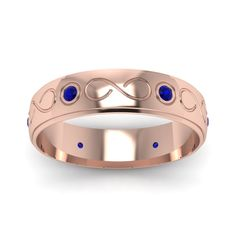 Mens Infinity Wedding Bands with Blue Sapphire in 18K Rose Gold exclusively styled by Fascinating Diamonds