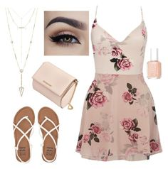 """""""Sweet spring look"""" by polkadotpuppies on Polyvore featuring Lipsy, Billabong, Givenchy, House of Harlow 1960 and Essie"""