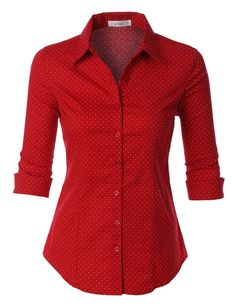 Womens Polka Dots Button Down Sleeve Tailored Shirt: Whatever the occasion is, this polka dots button down sleeve tailored shirt will be a perfect fit. This comfortable wash-and-wear shirt is indispensable for the workday Red Long Sleeve Tops, Red Long Sleeve Shirt, Shirts & Tops, Shirt Blouses, Cotton Shirts, Red Button Down Shirt, Button Up Shirts, Polka Dot Shirt, Polka Dots