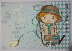 scrapbooking card with fisherman for little boys