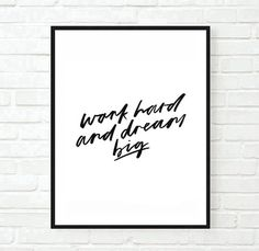 work hard dream big inspirational tumblr typographic print quote art print inspirational quote motivational tumblr room decor framed quote
