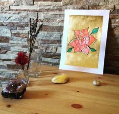 #art #etsyshop #etsy #goldleafimitation #goldleaf #illustration #gold #artofgold #metallicleaf #flower #watercolor #originalart #rose