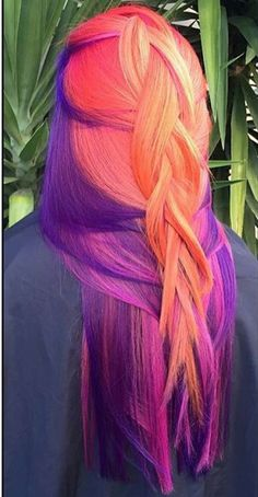 Orange purple dyed hair color @ivoryrosehair