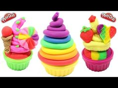 PLAY DOH - clay rainbow ice cream cups licorice along peppa pig toys 2 - YouTube