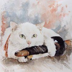 """Neko Samurai cat ""....my spirit... #watercolor #Neko #Samurai #art #arte #acquarello #draw #drawing #love #cat #gatti #katana #kendo"