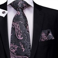 100/% Silk Tie and Pocket Square Pink and Grey