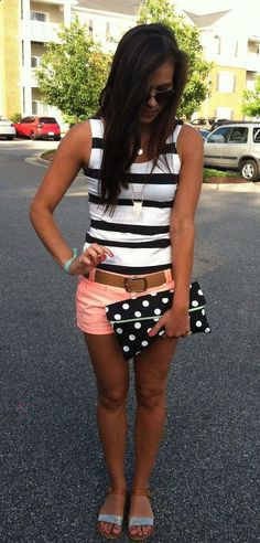 Coral shorts, striped tank, glitter sandals and black and white polka dot clutch.