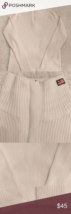 Polo Jeans Co Pale Pink High Neck Zip Up Sweater Pale pink - ribbed high neck zip up turtleneck.  Embroidered American Flag on neck. 100% cotton. Excellent pre-owned condition. No rips, holes, tears or stains. Polo by Ralph Lauren Sweaters Cowl & Turtlenecks